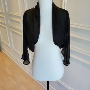 Silk Bolero with 3/4 Sleeve | Sheer Black | Sz S